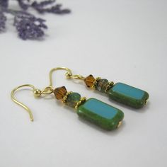 Turquoise Picasso surgical steel earrings, Czech glass rectangle earrings, nickel free earrings, turquoise & brown earrings, small dangle by AndesBeads on Etsy