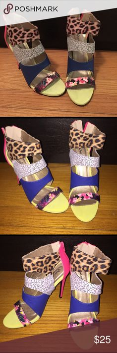 Colorful heels! Qupid heels. Multi colored. SIZE 8 1/2. Worn once or twice but still in great condition Qupid Shoes Heels
