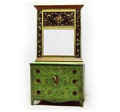 Hand Painted Furniture - Piece of the Week - Antique Chest & Trumeau Mirror