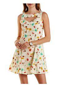 Cut-Out Floral Print Skater Dress