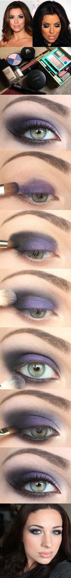 DIY Makeup   EYESHADOW :: Eva Longoria's Purple Look Tutorial   #eyeshadow #evalongoria