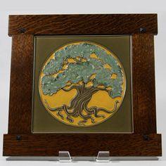 rookwood tile tree nouveau carving pottery ceramics clay