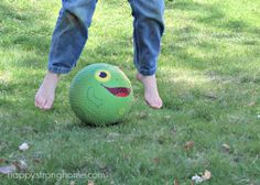 Classic summer kids' play: leap frog in the yard...