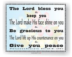 Floral Typography  Numbers 6:24-26  The Lord Bless You and Keep You Scripture Verse by LoveLinePrints