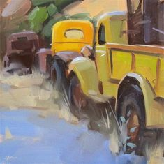"""""""Parked in a Row"""" - Original Fine Art for Sale - © Carol Marine Train Art, Daily Painters, Art Sites, Car Painting, Old Trucks, Fine Art Gallery, Painting Inspiration, Printable Art, Watercolor Art"""