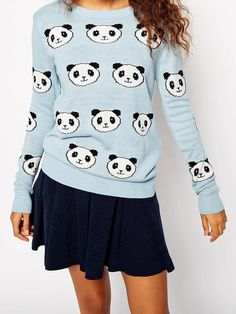 Blue Pandon Graphic Sweater | Choies