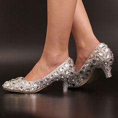 Women'S White Handmade Cusp Wedding Big Rhinestone Bride Shoes Heel 3-5Cm