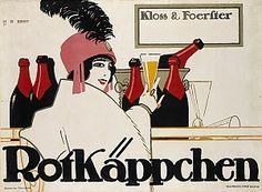 The Deutscher Werkbund designed this poster for Rotkäppchen sparkling wine in 1912.
