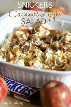 Snickers caramel apple salad: 6 reg. Snickers bars. 4 med. apples. 1 (5.1 oz.) Vanilla instant pudding mix (DO NOT prepare). 1/2 cup milk. 1 (16 oz.) tub whipped cream (thawed to room temp.) 1/2 cup caramel topping. Whisk pudding packet, milk and whipped cream together. Chop up apples and snickers into bite size pieces, then add to the mixture. Layer in glass baking dish and chill for 1 hour.