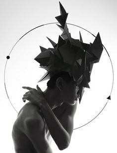 Accessories designer Qi Hu has created these paper headpieces for Paris' Printemps department store by folding them into shapes of creatures from Chinese mythology using the origami technique. Glitter Outfit, Chinese Mythology, Paris Design, Masks For Sale, Mythological Creatures, Fine Art, Headgear, Installation Art, Geometric Shapes