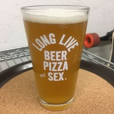 A set of two Long Live Pizza Beer and Sex pint glasses. Pizza And Beer, Long Live, Laser Engraving, Pint Glass, Glasses, Tableware, Etsy, Ale, Eyewear
