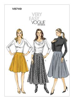 "{Have} Vogue 8749, Very Easy Vogue - flared skirts in three lengths. Recent design. Have size range U.S. 14-22 (in standardized outdated U.S. ""big 4"" pattern sizing). Yardage needed: Size 22 calls for between 2 3/8 yards and 4 1/2 yards of 60"" wide fabric, depending on length, or between 3 yards and 3 1/2 yards for 45"" wide fabric, though 45"" fabric is only suitable for the two shorter lengths. Also calls for 1/2 yard of fusible interfacing, 1/2 yard of 45"" wide lining fabric, and a 7""…"