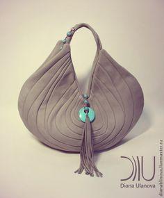 """Купить Сумка кожаная """"Стоун"""" - серый, однотонный, сумка женская, сумка ручной работы"""