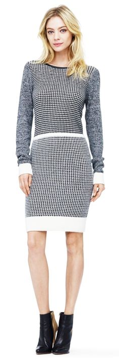 #Tweed is a year-round staple, but this cozy dress is perfect for winter time!  @Club Monaco Jasmin Tweed Sweater #Dress