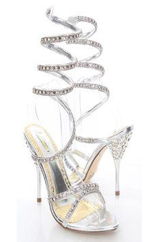 Silver Metallic Rhinestone Coil Wrap Sandal Heel / Sexy Clubwear ...