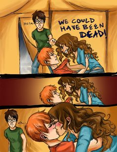 Who cares about Ron and hermione. just look at Harry's face😂 Harry Potter Couples, Arte Do Harry Potter, Harry Potter Comics, Harry Potter Drawings, Harry Potter Ships, Harry Potter Jokes, Harry Potter Pictures, Harry Potter Fandom, Harry Potter Characters