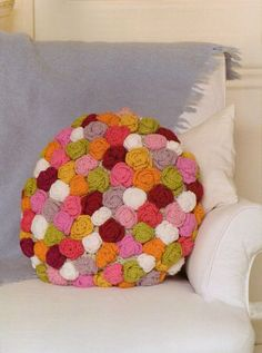 Nicki Trench knitting patterns, Cute And Easy Crochet With Flowers, Round Rose Cushion, from Laughing Hens