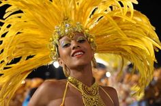 A reveller of Academicos do Tatuape samba school is dressed to parade during the first night of carnival parade at the Sambadrome in Sao Paulo, Brazil.