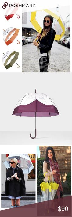 Rare Hunter Bright Plum Bubble Umbrella A transparent bubble umbrella. The bold, colored trim on the canopy forms the shape of the Hunter moustache, our signature taken from our Original Tall boot. A manual-open design, it has a crook handle covered in soft polyurethane for grip, which is color matched with the detail on the canopy. 100% polyethene. Trim: 100% polyurethane. Presented in exclusive Hunter packaging. Length 92cm. Span 86cm. Brand new with tags. Bright Plum Color sold out…