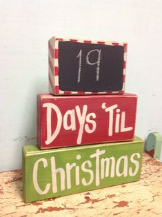 Days til Christmas chalkboard advent calender chunky block set wood sign countdown. wood crafts to sell rustic Crafts products. Want additional information? Christmas Wood Crafts, Noel Christmas, Christmas Signs, Christmas Projects, Holiday Crafts, Holiday Fun, Christmas Decorations, Christmas Blocks, Countdown To Christmas