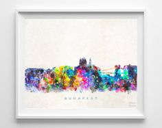 Budapest Skyline Print Hungary Poster Watercolor by InkistPrints