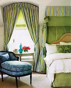 Drapery panels with an Arch curved rod add a classical dimension to your living room windows. Please call Window Inspirations in Winnipeg for such ideas and more. Arched Window Treatments, Arched Windows, Window Coverings, Green Curtains, Drapes Curtains, Valances, Rideaux Design, Moroccan Bedroom, Green Color Schemes