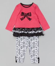 Look what I found on #zulily! Pink & Black Bow Tunic & Leggings - Infant by Buster Brown #zulilyfinds