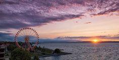 Sunset over Lake Balaton pieces) Budapest Hungary, Rapper, Fair Grounds, Mountains, Sunset, History, Juni, Travel, Beautiful