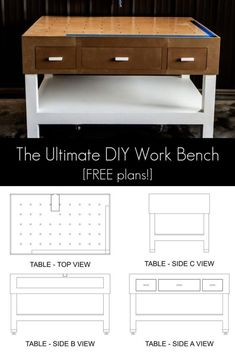 The ultimate DIY garage workbench plans These free plans will make woodworking a breeze Includes builtin kreg jig location drawers outfeed table clamp traks and more Step. Garage Workbench Plans, Woodworking Workbench, Woodworking Projects Diy, Woodworking Furniture, Workbench Ideas, Wood Projects, Woodworking Joints, Woodworking Education, Woodworking Workshop