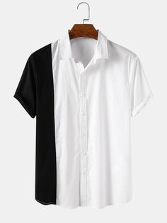 US$17.59 - Men Stitching Asymmetric Casual Short-sleeved Shirt - SKUF34802