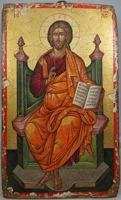 Hand-Painted Byzantine icon of Jesus Christ Enthroned (15th c. Angelos – Teutonic Cemetery, Vatican)