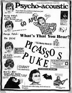 Psycho-acoustic • Picasso's Puke • Barney Rebel, Mungo Fetch, E. Sloth, Rip Van Hip • Promotional Material • July, 1986 • Edmonton • poster