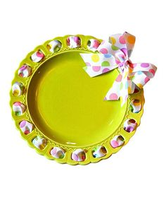 Look at this #zulilyfind! Lime Pastel Gumball Ribbon Prissy Plate by Prissy Plates #zulilyfinds