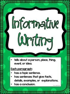 WRITING POSTERS: INFORMATIVE, NARRATIVE, & OPINION ...