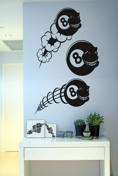 Wall Vinyl Sticker Decals Mural Room Design Pattern Art Decor Ball Billiards Pool Eight Number Game Play Hobby Sport mi155 by RoomDecalsAndDesigns on Etsy