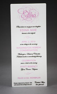 A beautiful white acrylic invitation we made for a Bat Mitzvah. Acrylic Invitations, Table Signs, White Acrylics, Bar Mitzvah, Acrylic Colors, Special Events, Place Cards, How To Memorize Things, Classy