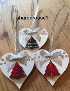 3 x handmade tartan christmas decorations shabby chic heart tree bows silver - Christmas Decorations Pinterest Handmade