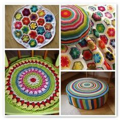 hexagon crochet and round cushions