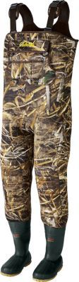 Cabela's SuperMag™ 1600 Hunting Chest Waders – Regular  New boot bottoms are 20% lighter 5mm neoprene is covered with Armor-Flex Quick-detach shell pouch with 24 shell loops Front-pocket system Men's whole sizes: 8-15. Camo patterns: Mossy Oak® Shadow Grass® Blades®, Realtree MAX-5™.