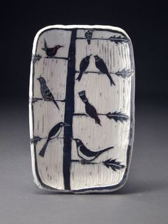 Gloria Lessing, lots of great ideas and tutorials, very generous with her knowledge. Gloria Lessing, lots of great ideas and tutorials, very generous with her knowledge. Ceramic Birds, Ceramic Decor, Ceramic Design, Ceramic Clay, Ceramic Plates, Sgraffito, Slab Pottery, Ceramic Pottery, Pottery Art