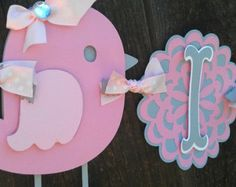"""Pink and Gray Bird Baby Shower Banner.  """"It's Twins"""" OR """"It's A Girl"""" banner"""