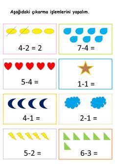 Math Subtraction Worksheets, Math Addition Worksheets, English Worksheets For Kids, English Lessons For Kids, Kindergarten Math Worksheets, Math Activities, Numbers Preschool, Preschool Math, Math Classroom