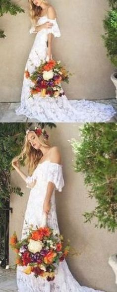 A-Line Off Shoulder Cheap Long Beach Wedding Dresses With Lace,VPWD456 Lace Dress, Strapless Dress, White Dress, Long Beach, Summer Wedding, Off The Shoulder, Wedding Dresses, Fashion, Strapless Gown