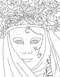 Dibujos y Plantillas para imprimir: Mascaras venecianas  para imprimir y colorear 10