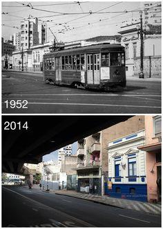 1952 e 2014 - Fotos comparativas de um trecho da avenida São João, na região de Santa Cecília.