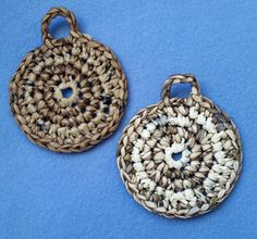 Two Plarn Dish Scrubbies shades of brown recycled plastic bags by plarnstar