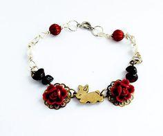 Rabbit bracelet, bunny bracelet, once upon a time, wire wrapped bracelet, charm bracelet