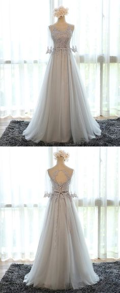 Stunning Jewel 3 4 Sleeves Floor Length Silver Bridesmaid Dress with Lace  Appliques 2b7fa82031de