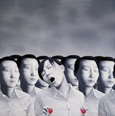 Chinese contemporary painting gray & red Chen Yu ----BTW, Please Visit: http://artcaffeine.imobileappsys.com