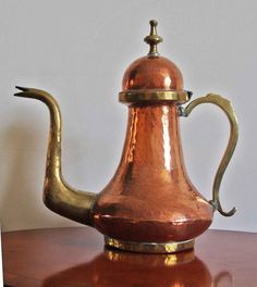 A Very Large Vintage Copper & Brass Coffee Pot / Lidded Jug. in Collectables, Metalware, Copper | eBay